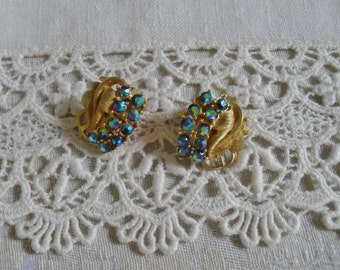 Vintage Clip on Earrings Aurora Borealis Blue Rhinestone
