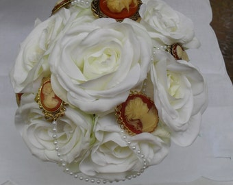 Wedding Brooch Bouquet, Vintage Cameos , Ivory White Roses Pearls ,For Bride Or Decor