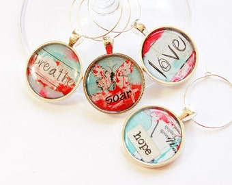 Wine Glass Charms, Inspirational Charms, Wine Charms, table setting, Breathe, Soar, Love, Hope (3044)