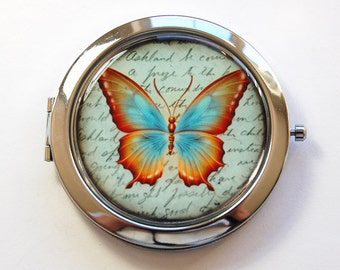 Butterfly compact mirror, Butterfly, Pocket mirror, Compact mirror, butterfly mirror, mirror, purse mirror, green, Nature (3106)