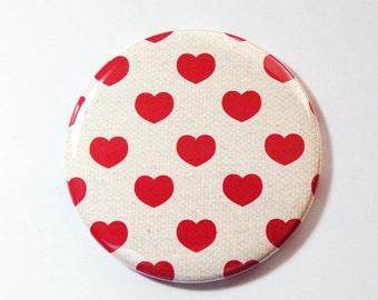 Valentine pocket mirror, pocket mirror, Hearts, mirror, purse mirror, heart mirror, Valentines Day, My Valentine, gift for her, Red (3606)