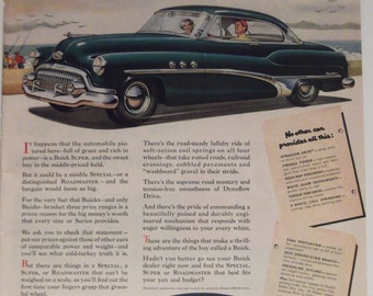 1951 BUICK SPECIAL ROADMASTER Original Vintage Automobile Advertisment Car Garage Decor Ready To Frame