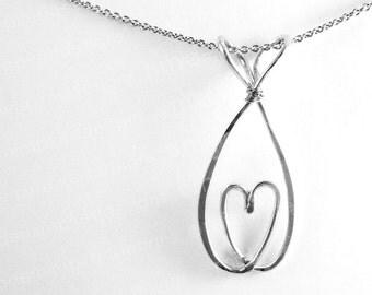 Heart Christian Fish Necklace - Fish - Heart- Love - Christian Fish Jewelry - Ichthys Ichthus - Fish Symbol - Christian Jewelry - Jesus Fish