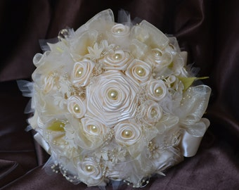 Wedding Bouquet - Satin flowers with pearl and twine handle - ready to ship