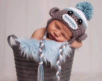 Sock Monkey Hat, Sock Monkey, Newborn Sock Monkey Hat, Baby Sock Monkey Hat, Gray Sock Monkey, Sock Monkey Hat for Boys or Girls, Baby Gifts