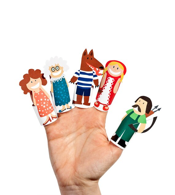 Little Red Riding Hood Paper Finger Puppets by Pukaca