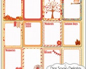 Fall Pocket Journal Cards Set2- 3x4 Autumn Project Life Style Type in Red, Orange, Owl, Fox Pocket Cards, Printable Instant Download