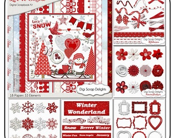 Winter Clip Art, Snow Scrapbook MEGA Bundle, Red, White Digital Clip Art & Papers Snowman, Cocoa, Sled, Trees, Instant Download