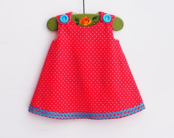 Girl Dress - Aline - Baby Girls Outfits - Red Turquois Polka Dot - Infant Dress Pattern - Imported from Japan - Handmade by Order - 3M to 4T