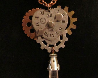 Steampunk Clock Face Pendant with Quartz Crystal Accent and Chain