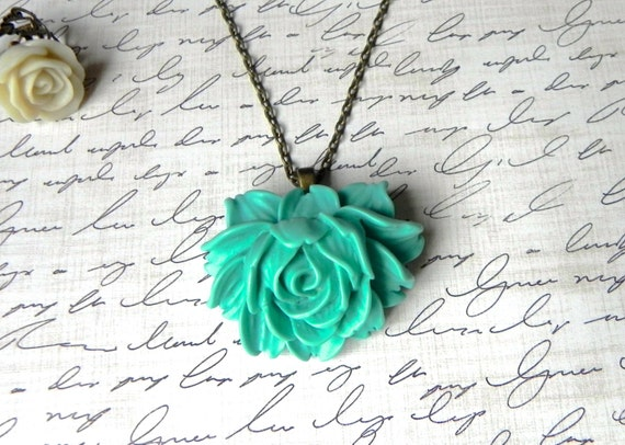 Large Teal Open Rose Necklace