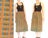 Sale - Skirt African tribal print - elastic waistband 80s 90s vintage hipster