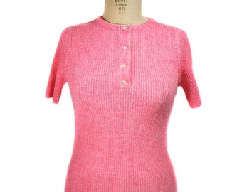 vintage 1960s hot pink knit top / Penrose / henley / neon / short sleeve sweater / sweater girl / women's vintage top / size small