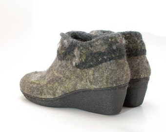 READY to SHIP size EU 39/ us women 8.5 Black wedge Ankle Boots