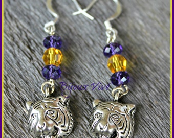 LSU Tiger Inspired Earrings - Purple and Gold Earrings - Dangle Earrings - LSU Jewelry - Tiger Jewelry - Geaux Tigers - Tiger Fan