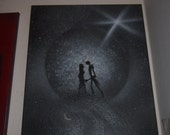Nightmare Before Christmas Spray Painted on Canvas 16x20