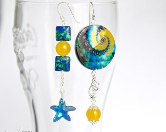 Starry sky long modern asymmetrical dangle sterling silver earrings with Swarovski star, jade, mother of pearl and jade, blue and yellow