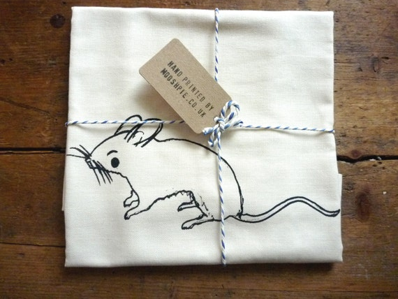 House Mouse Tea Towel, Screen Printed. Hand Printed. Cotton Dish Cloth. Kitchen Towel. Mouse Illustration Dish Towel. Flour