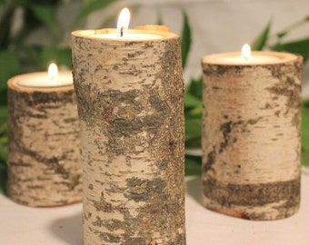 22 Birch Candle Holders for Wedding Centerpieces