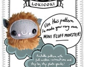 Instant download! Mini Fluff Monster Sewing Pattern by LokiCoki