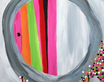 "Abstract Painting Circle Gray Pink Orange Designer Wall Art Canvas 16"" x 20"""