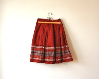 Handwoven Red Skirt with Embroidered Ethnic Design Holiday Gift for Her