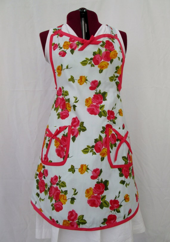 Large Full Floral apron with pockets, pink and yellow roses in retro style with coral rose trim, vintage inspired large woman's apron