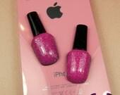 4 pcs Pink GLITTER NAIL POLISH Girly Flatback Resin Decoden Kawaii Cabochons