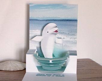 Pop up Birthday Beluga Whale card Whale of a time