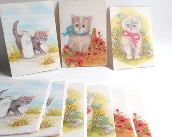 Vintage Note Cards, Envelopes, Greeting Cards, Ephemera, Cats, Cat Note Cards, Stationery, Paper, from All Vintage Lady