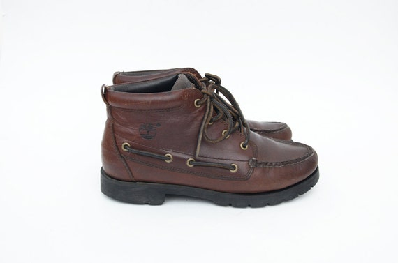 Vintage high top brown leather women lace up boat shoes /