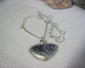 Botswana Agate Necklaces Jewelry, Triangle Necklaces, Non Tarnish Argentium Silver One of a Kind Agate Necklaces