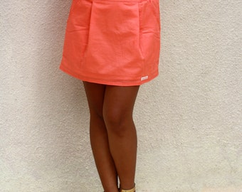 Coral Skirt / Mini Skirt with Pockets / Bridesmaid Skirt
