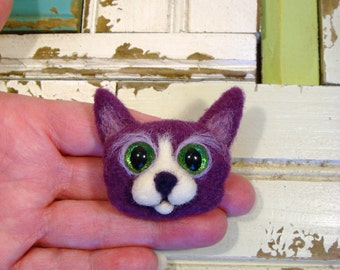 Cat Needle Felted Purple, Tuxedo Cat Pin