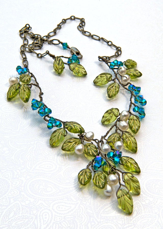 green and blue beaded necklace green and blue leaf necklace