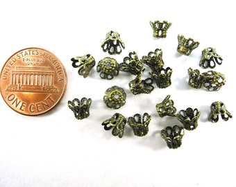 24 pcs Metal Bead Caps - Antique Bronze - 4.5mm Long