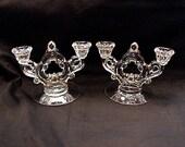 Cambridge Glass Candle Holder Vintage Crystal PAIR  1930s Antique Glass Cambridge 2 lite Glass Candleholder SET
