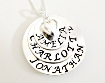 Personalized Grandmother Mommy Multiples Necklace - Custom Layered Hand Stamped Trio of Stacked Sterling Silver Discs with Names Puffy Hear