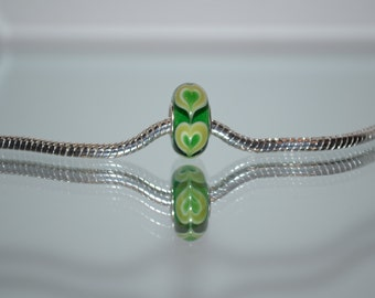 EB-282  European Green Glass Bead with Heart Design