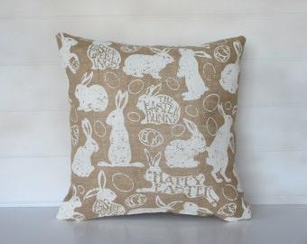 Easter Bunny Burlap Pillow Cover, Easter Egg Decorative Throw Cushion, Rabbit Pillow, Easter Decor,  Holiday Pillow Bunny Decoration