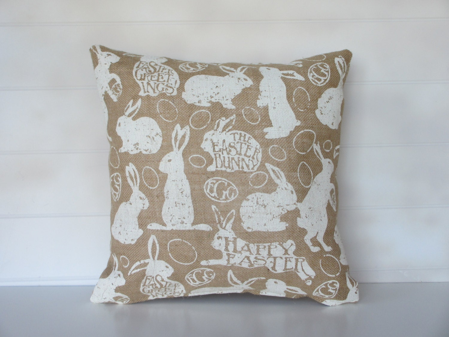 Decorative Pillows For Easter : Easter Bunny Burlap Pillow Cover Easter Decor Easter Egg