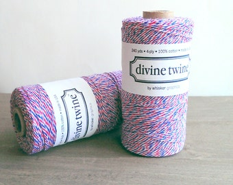 Air Mail twine - full spool - 240 yards - red white and blue bakers twine - Divine twine