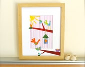 Wall Art for Girls, Birds and Birdhouses Decor, Garden Theme Nursery Art