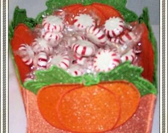 Pumpkin lace Basket Handmade READY TO SHIP