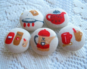 Kitchen Set Fabric Buttons, Fabric covered button, Teapot pan seasoning set 5pcs,20mm,  summer, spring, cute ,quilt,flower, handmade button