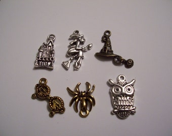 Happy Halloween Harry Charms for DIY Jewelry Crafts Witch Wizard School owl glasses spider wizard hat pumpkin