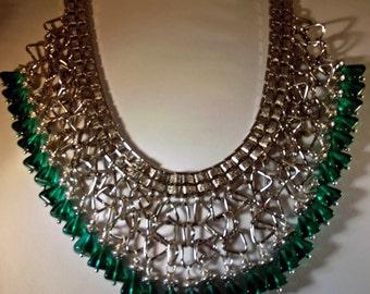 Necklace or Choker Handmade Adjustable Custom Sized SP Steel Triangles Czech Emerald Glass Triangles Wire Wrap Statement OOAK Bonus Earrings