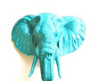 LARGE Faux Taxidermy TEAL Elephant Animal Head wall mount teal animal head faux animal head safari wall art elephant wall art mounted animal