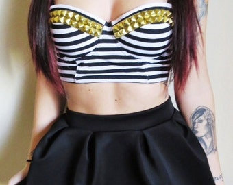 Studded Bustier Bra Top - Black & White Stripe Print - Silver- Gold- or - Black Studs