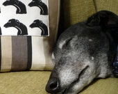 Black Greyhound Cushion - multi-head printed panel on a black/taupe background